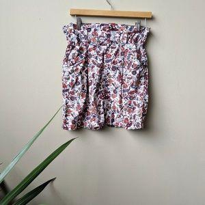 Zara Woman Floral Corduroy Pocket Mini Skirt sz S